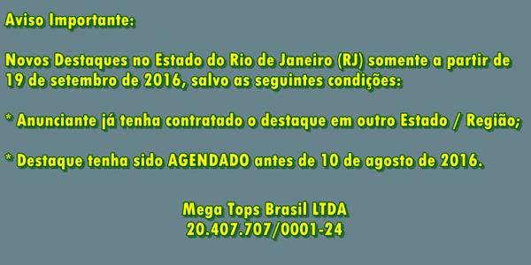 Aviso Sobre Destaques no Rio de Janeiro (RJ)